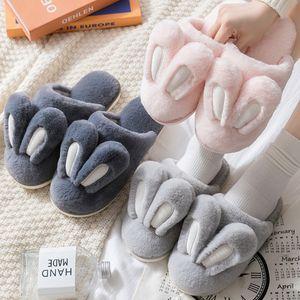 Cute Bunny Slipper Quente Interior Mulheres de pele do inverno animal Início Shoe fêmea antiderrapante rosa cinza coelho peludo Pantufas Homens MX200425