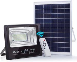Solarleuchten Außen IP67 Wasserdichtes Solar Flutlicht 100W LED-Straßenlampe 5100 Lumen mit Fernbedienung