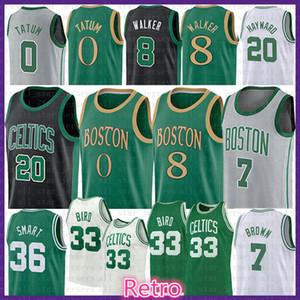Jayson 0 Tatum Kemba Walker 8 Basketball Maglia Larry 33 Uccello Jaylen 7 Brown Marcus Hayward 36 intelligente Mens Gioventù BostonCeltics20