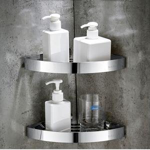 Bathroom Shower Corner Shelf SUS 304 Stainless Steel Shower Caddy Wall Mount Triangular Bathroom Shelves with Hooks