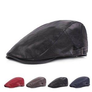 Männer Echtes Leder-Winter-warme Earmuff Barettschirmmütze Newsboy Hüte / Kappen