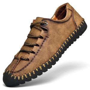 Grande Taille 47 48 souple et confortable Bas Chaussures en cuir Casual Wearable Low Top Hommes Mocassins Lacets main KPOCCOBKN