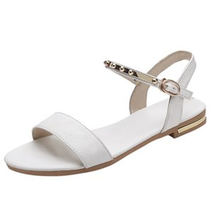 2020 Sandals Women Bare Buckle Flats Open Toe Sandalia Feminina Femme Casual Shoes Ladies Slip-on Pumps Soft-Beach Sandals