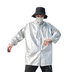 Мужчины с длинным рукавом Tie Воротник Сияющий Сыпучие серебристая рубашка Мужской Streetwear Hip Hop Party Dress Shirt Coat костюмами