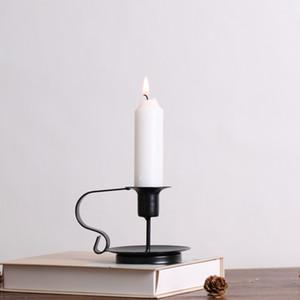 Retro Style Supporto Vintage Candelieri Black Iron Art Candeliere Decorazione Candle Stand Centro de mesa