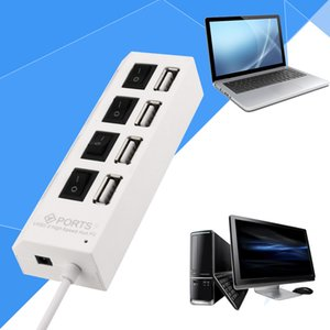 200pcs 4 Port Micro USB Splitter High Speed 480Mbps 2.0 Hub LED With ON OFF Switch For Tablet Laptop Computer Notebook