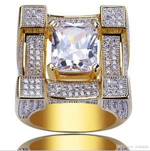 Luxury Squared Diamond Solitaire Eternity Iced Out Rings Cubic Zirconia Micro Pave Simulated Diamonds Ring with gift Box 18K Gold Plated