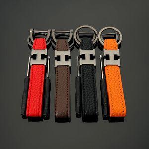 Fashion PU Leather Keychain H Shape Keyfob Metal Borseshoe Key Ring Holder Car Keys Key Chain