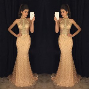 2020 Cheap Sexy In Stock Evening Dresses Sequined Mermaid Prom Dresses Halter Formal Party Bridesmaid Second Reception Gowns ZJ335