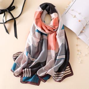 Autumn Winter Women Check Scarf Brand Pure Silk Scarves Female Shawls Foulard Ladies Summer Beach Cover-ups Silk Head Hijab New