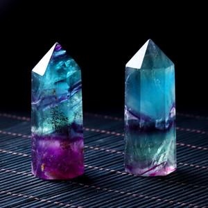 Fluorite naturel cristal coloré à rayures en cristal de quartz en cristal pierre de pierre cicatrisant la pierre de la baguette hexagonale
