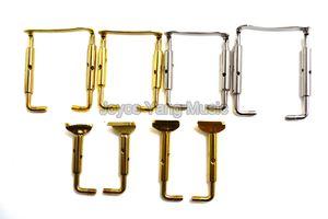 Скрипка 4 / 4-3 / 4 1 / 2-1 / 4 Регулируемый хромированный медный позолоченный Chinrest Крепежи Винты Hook Бесплатная доставка