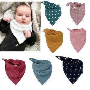 Baby Bibs Burp Cloths Infant Polka Dot Bandana Triangle Saliva Bibs Towel Printed Fashion Waterproof Cotton Scarves Kids Pinafore Bibs