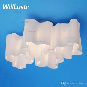 Logico luces de techo Salón lámpara del techo de la lámpara lámparas de cristal de leche giro cuádruple sombra luz de techo anidada