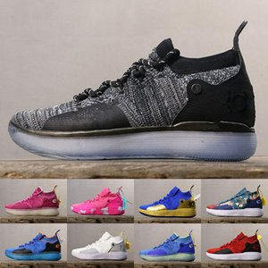 KD 11 Royal Mammary Cancer Black Moon Kids University Red Kevin Durant Basketball Shoes KD10 KD11 Sneakers