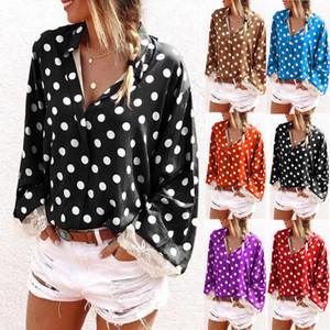 kadınlar tasarımcı tişörtleri Uzun kollu Polka Dot Baskı T-shirt V yaka gömlek Kadın Gömlek camisetas de diseñador para mujer S-5XL womens Tops