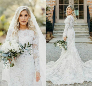 Vintage Bohemian Full Lace Wedding Dresses With Sheer Long Sleeves Bridal Dresses Buttons Back Country Wedding Gowns Court Train