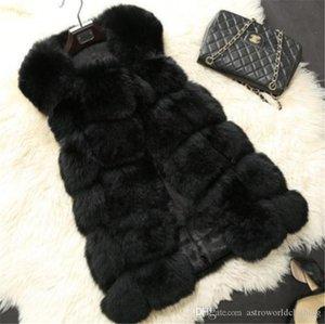 디자이너 여자 여우 모피 조끼 겨울 따뜻한 민소매 롱 여자 코트 캐주얼 솔리드 컬러 여성 자켓