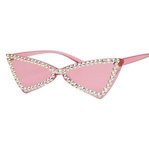 Avrupa ve Amerikan tarzı yeni üçgen şeker renk kedi gözü elmas kadın sevimli kedi gözü noktası sunglasses