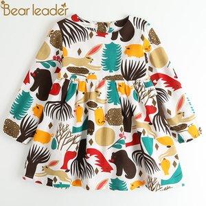 Bear leader meninas dress nova primavera inglaterra estilo meninas roupas de manga longa dos desenhos animados da floresta dos animais graffiti para crianças vestidos y190515