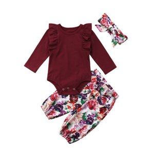 Pudcoco 0-18M 3PCS Newborn Baby Girls 2018 Red Tops Solid Romper Floral Pants Headband Outfits Autumn Set Clothes