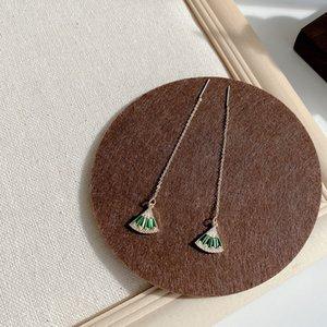 Earrings Female Eardrop Temperament Long-term Net Red Fan-shaped Earrings SilverTassels Slightly Inlaid with Green