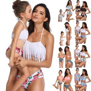Verão pai-filho maiô impressão de cintura alta biquíni babados mãe e filha casual swimwear (2-8 idade) (s-xl)