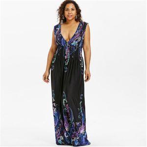 Yaz v boyun bohemian artı boyutu kadınlar dress casual plaj maxi dress büyük boy 5xl zarif parti dress