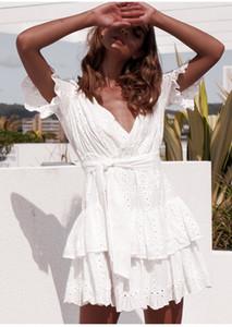 Manica corta estate delle donne vestiti di pizzo bianco Trim cotone casuali della spiaggia Sundress sexy scollo a V scava fuori Mini sera del partito di vestito elegante 2020