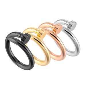 Mode hommes de conception classique uniques et les femmes bague clou en acier inoxydable en acier de titane 18k anneau accessoires pour bijoux en or les hommes gros