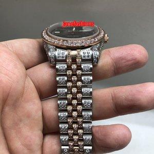 Dial 36 millimetri Guarda Grey Bi-Rose Gold Diamond degli uomini di moda del diamante di Hot Orologi meccanico auto sport vigilanza del calendario