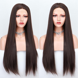 Scheherezade Grey Brown Wig Long Straight Synthetic Lace Front Wigs For Black Women High Temperature Fiber Cosplay Wigs