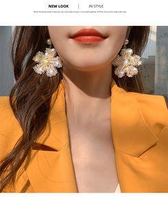 Luxury Designer Jewelry Women Earrings 2020 New Exaggerated Crystal Flower Earrings Fashion Net Red 925 Silver Needle Earrings