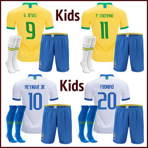 brazil kids soccer jersey 2019 Brezilya çocuklar futbol jersey NEYMAR JR 19 20 brasil çocuk G JESUS P COUTINHO Camisa de futebol DANI ALVES MARCELO PAULINHO futbol gömlek