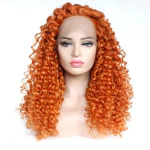 Pastello arancione sintetica parte anteriore del pizzo lunga parrucca riccia alta temperatura glueless anteriore parrucca per le donne a buon mercato di colore arancione del partito Cosplay