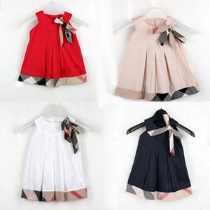 2018 Nova Moda Bonito Meninas Vestidos de Algodão Casuais Xadrez Vestido de Roupas de Bebê Da Menina Da Criança Roupa Dos Miúdos Trajes Infantis