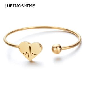 Women Men Heart Star Moon Love Stainless Steel Bracelet Adjustable Open Cuff Bangles Gold Color Jewelry