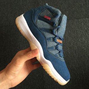 Mens Basketball Shoes Jumpman 11 13 Denim LS Travis Uomini Neri Blue Jeans 4s 11s 13s 1s addestratori di sport delle scarpe da tennis Taglia 40-47