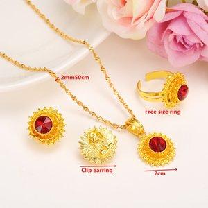Bangrui small size women Ethiopian jewelry sets Gold Color rhinestone earrings ring pendant chain jewelry sets