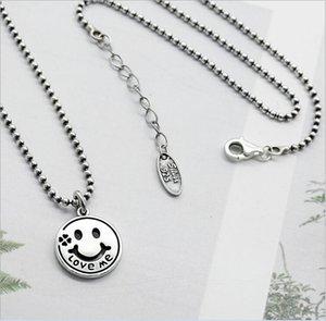 Design originale Retro gioielli in argento sterling 925 tailandese fatti a mano su misura catena perline Smiley Face Love Me orecchini serie di orecchini K4818