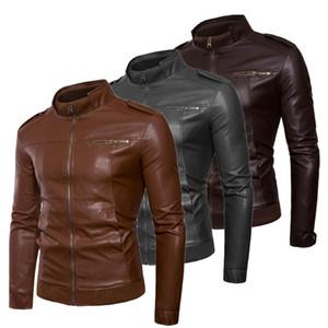 Erkekler için Günlük Tops Kış İlkbahar Giyim Dış Giyim Erkek PU Deri Ceket Slim Fit Biker Motosiklet Sıcak Coat