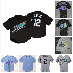 12 Wade Boggs Devil 1998 Season inaugural jerseys de béisbol 33 Jose Canseco 4 Blake Snell 2 Randy Winn 22 Hamilton