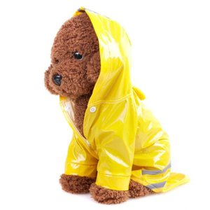 Outdoor Puppy Pet Rain Coat S-XL Hoody Waterproof Jackets PU Raincoat for Dogs Cats Apparel Clothes Wholesale