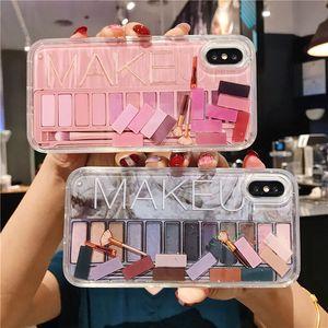 Makeup Phone Case Ombretto Quicksand per iPhone XR XS Max X 7 7 Plus dinamica iPhone glitter estetica della copertura posteriore per XR 8 8 più