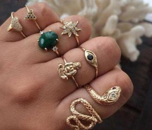 7pcs sets Snake Green Oval Crystal Rings Sets Gold Color Bohemia Flowers Heart Shape Jewelry Women Men Accessories