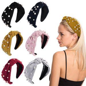 Wide Chiffon Hair Bands For Women Headband Pearls Hairband Corss Knot Hair Hoop Sponge Gumki Do Wlosow Girls Hair Accessories