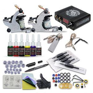Kits de tatouage complets 2 mitrailleuses doublures Shader 6 encres mini LCD POWER POWER PRINTATEUR PRATIQUE