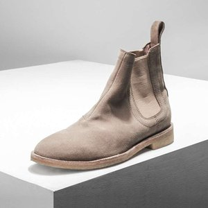 Real Leather Suede Men Ankle Booties Slip-on Hip hop Dance Shoes Casual Flats Shoes Cool Street Style Motorcycle Boots Shoes
