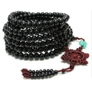 216 pcs Preto Ombro Budista Ombro Beads Colar Buddha Mala Sândalo Nó Pulso Cuff Bracelet Bangle Jóias DIY 6mm
