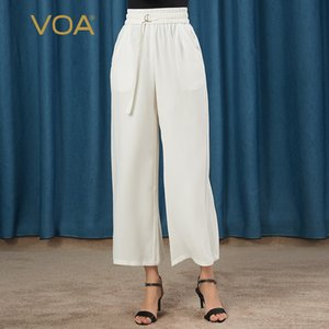 VOA 30MM Silk Heavy Milky White Elastic Waist Half Ring Ribbon Oblique Plug Pocket Straight Capri-Pants K0937